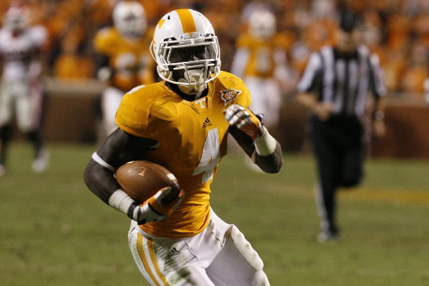 Tennessee tailback Marlin Lane runs the ball during a game against Georgia at Neyland Satdium.