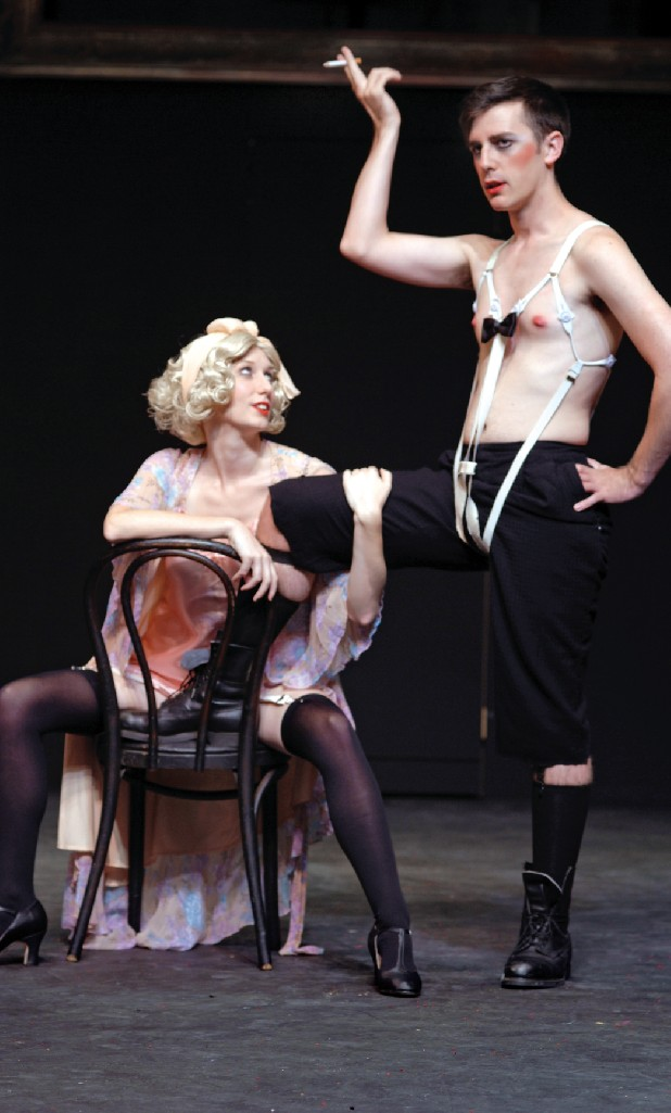 "Sally Bowles (Janelle Gilreath, left) and the Emcee (Cody Keown) in ""Cabaret."""