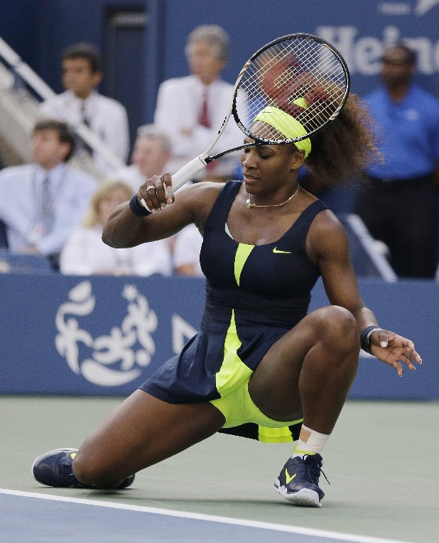 Serena Williams returns a shot to Victoria Azarenka, of Belarus, during the championship match at the 2012 US Open tennis tournament, Sunday, Sept. 9, 2012, in New York.