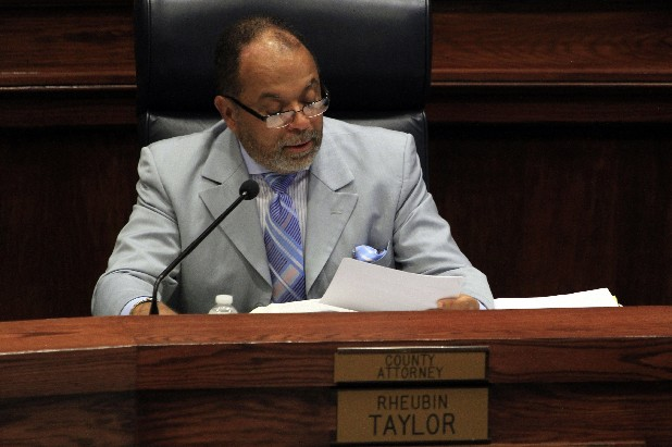 County attorney Rheubin Taylor initiates voting during a Hamilton County Commission meeting in this file photo.