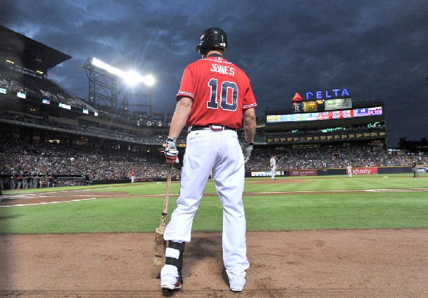 Chipper Jones awaits his turn at bat against the Washington Nationals in the first inning at Turner Field in Atlanta, Georgia, on Friday, September 14.