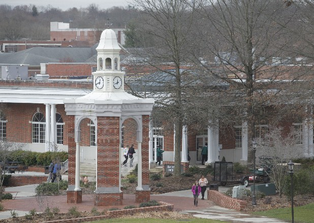 Students walk through the Lee University campus.