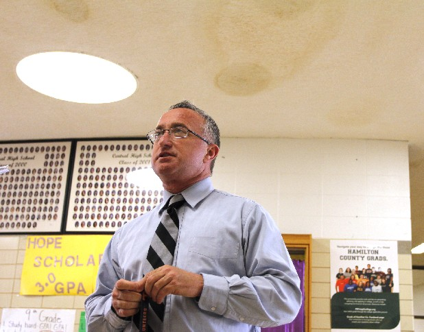 Principal Finley King discusses the water damage in the ceiling at Central High School on Wednesday.