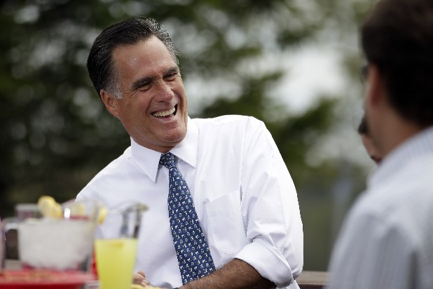 Republican presidential candidate, former Massachusetts Gov. Mitt Romney shares a laugh while meeting with a group of Pittsburgh area residents in Bethel Park, Pa, Call it the campaign trail schtick. The jokes at presidential fundraisers and rallies are easy applause lines for President Barack Obama and Romney, a way to keep supporters entertained before more weighty subjects like Medicare, taxes and foreign policy.
