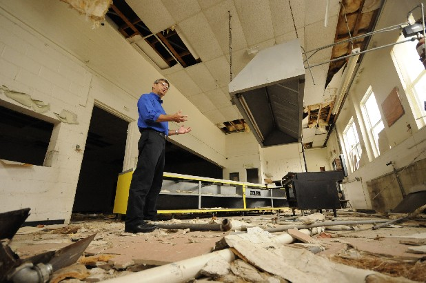 Bledsoe County Mayor Bobby Collier stands in the kitchen of the former Pikeville Elementary School. The school and a former restaurant on State Route 101 are among sites officials are eyeing for an agricultural processing facility.