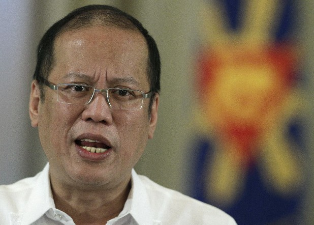 Philippine President Benigno Aquino III delivers a speech on national television at the Malacanang Presidential Palace in Manila, Philippines on Sunday, Oct. 7, 2012. Aquino said Sunday that his government has reached a preliminary peace agreement with the nation's largest Muslim rebel group in a major breakthrough toward ending a decades-long insurgency in the country's south.