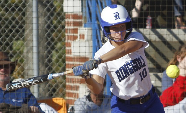 Ringgold's Devan Brown bats during the first of two games against Dawson County on Wednesday.