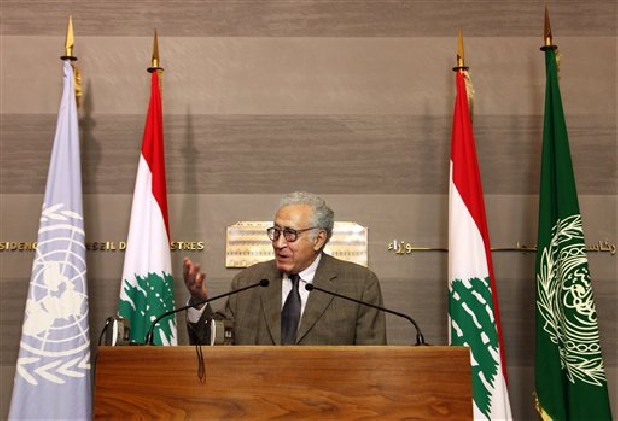 U.N. Arab League deputy to Syria, Lakhdar Brahimi, speaks during a press conference after meeting Lebanese Prime Minister Najib Mikati, at the government palace, in Beirut, Lebanon, Wednesday, Oct. 17, 2012. Brahimi is in Beirut to meet with Lebanese officials.