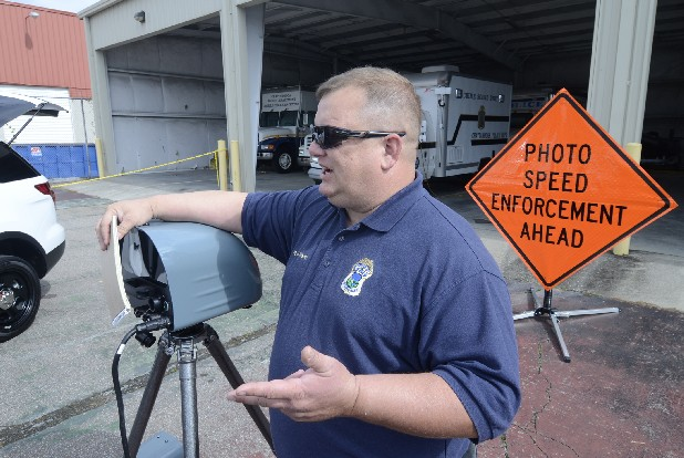Chattanooga police Sgt. Gary Martin talks Thursday about new traffic cameras that the city has leased.
