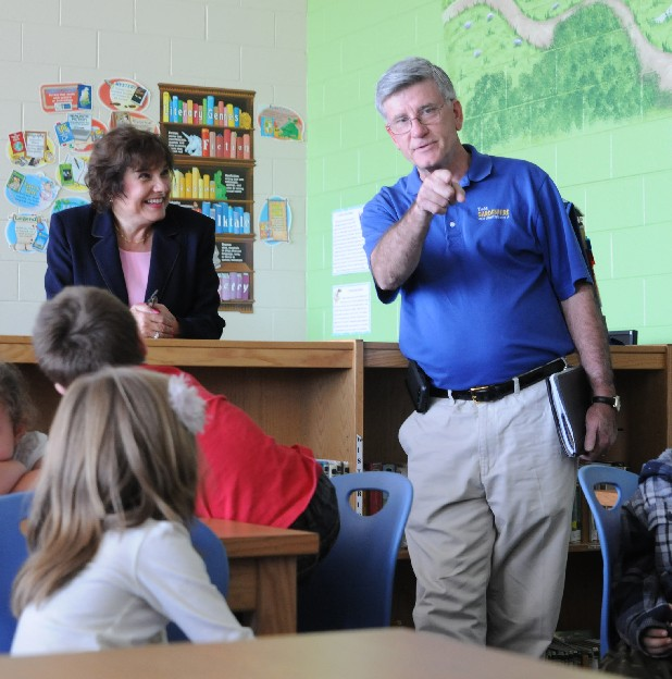 Todd Gardenhire, right, speaks at Valley View Elementary School. Also pictured is Valley View principal Sherrie Ledford.