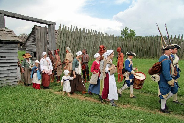 "Volunteer actors depict the 1760 surrender of the garrison at Fort Loudoun in ""Fort Loudoun: Forsaken By God and Man.""