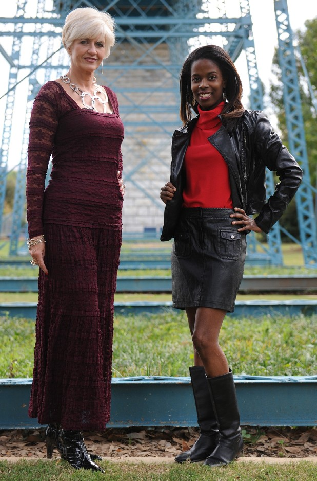 Modeled by Denise Leach, left, a floor-length lace maxi skirt, $78, and matching top, $68, by Sophie Max, courtesy of Belk, is ideal for dressy occasions. Lorean Mays, right, wears a faux leather jacket, &98, and miniskirt, $78, by Sophie Max, courtesy of Belk.