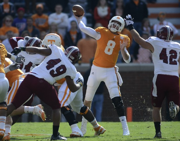 Tennessee's Tyler Bray passes Saturday at Neyland Stadium in Knoxville.