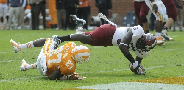 Troy's Eric Thomas dives for the endzone as Tennessee's Justin Coleman falls in the fourth quarter.