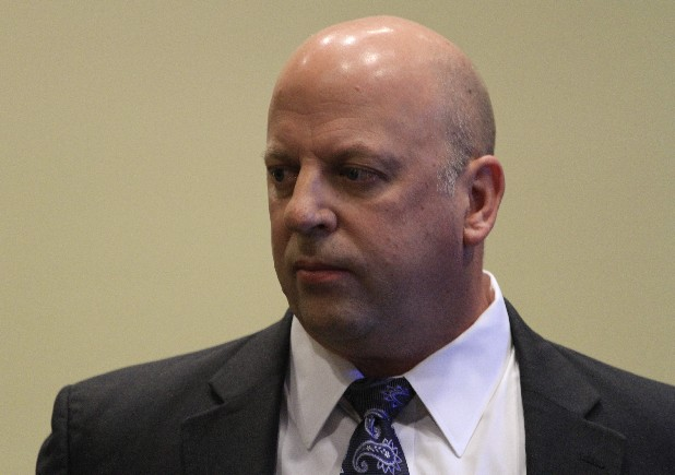 Rep. Scott DesJarlais's (R.-Tenn.), exits Judge Jacqueline Bolton's courtroom while waiting for a transcript to be brought in to address a motion by attorney J. Gerard Stranch IV, representing the Tennessee Democratic Party, to unseal Rep. DesJarlais's divorce records while at the Hamilton County Courthouse, in Chattanooga, Tenn., early Monday morning.