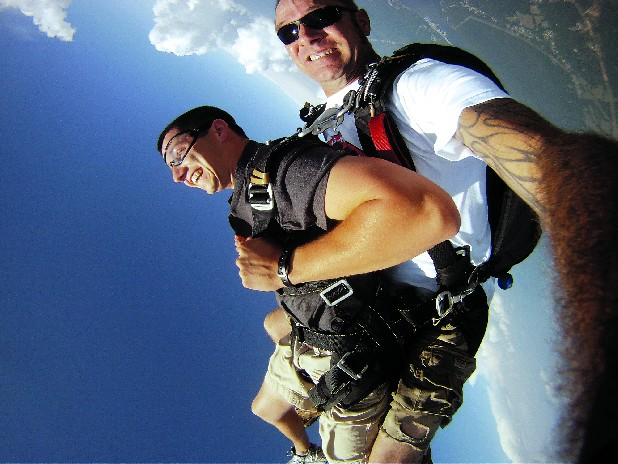 Tandem skydiving requires no prior jumping experience, just 30 minutes of instruction and paperwork.
