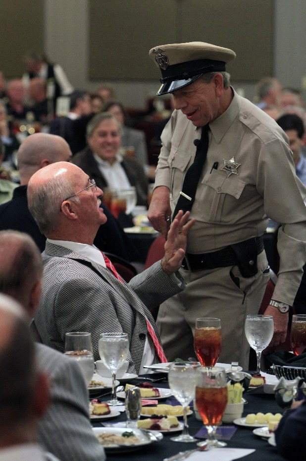 "Hamilton County Sheriff Jim Hammond interacts with guest speaker David Browning dressed as ""Barney Fife"" during the 2012 Sheriff's Law Enforcement Foundation annual luncheon held at The Chattanoogan hotel early Thursday afternoon."