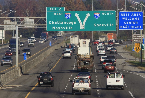 Northbound traffic travels on Interstate 75  approaching the I-24 split early Thursday morning. There will be a public hearing this week on plans to rebuild the I-75 / I-24 interchange to add lanes and improve safety.