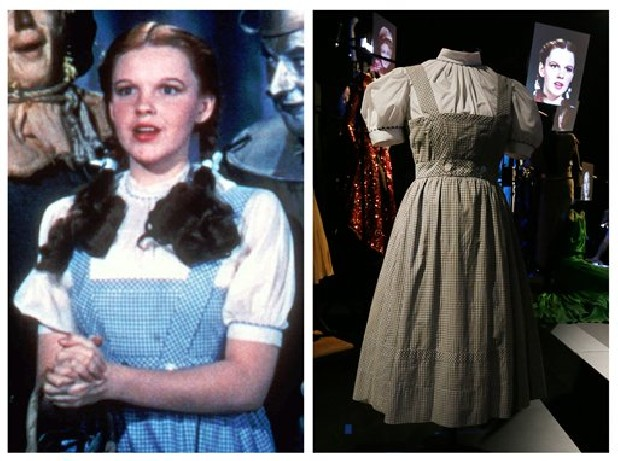 "This photo combo shows, at left, actress Judy Garland as Dorothy in a scene from ""The Wizard of Oz,"" and at right, is an Oct. 16, 2012 file photo showing the dress Garland wore in the movie, on display in London. On Sunday, Nov. 11, 2012, auction house Julien's Auctions said the gingham dress fetched the highest price of any item during a two-day auction of Hollywood memorabilia that attracted bids from around the world, selling for $480,000."