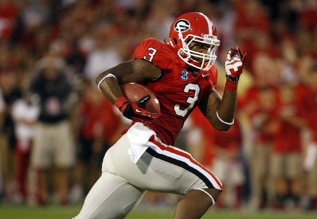 Georgia Bulldogs running back Todd Gurley (3) is shown against the Florida Atlantic Owls in an NCAA college football game Saturday, Sept. 15, 2012 in Athens, Ga.