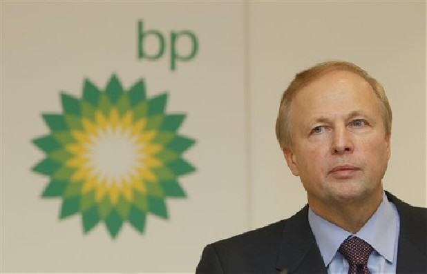 BP PLC's CEO Bob Dudley pauses during a results media conference at their headquarters in London.