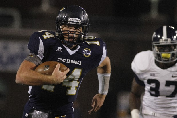 UTC quarterback Jacob Huesman runs for a touchdown during overtime against Georgia Southern. The Mocs, who finished 6-5, lost in the third extra period after wiping out a 14-point deficit in regulation.