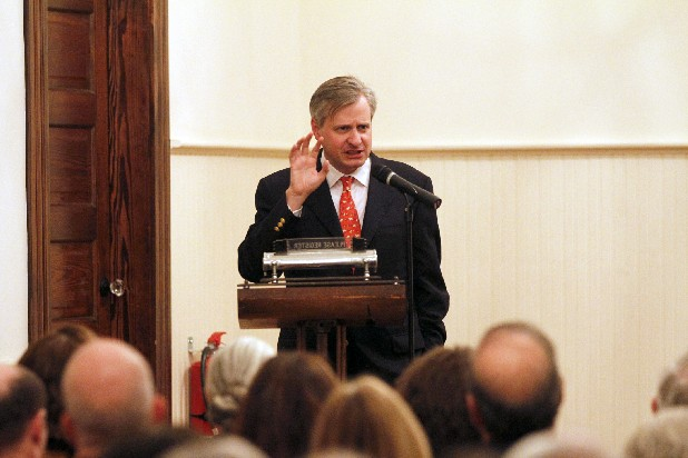 "Pulitzer Prize-winning author Jon Meacham jokes around with the audience before discussing his newly published book, ""Thomas Jefferson: The Art of Power"" during ""An Evening with Jon Meacham,"" an event hosted by the Arts & Education Council at Lindsay Street Hall in downtown Chattanooga Tuesday night."