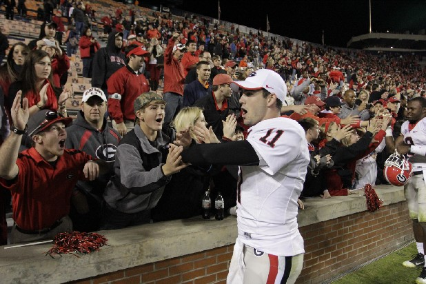 Quarterback Aaron Murray (11) greets fans.