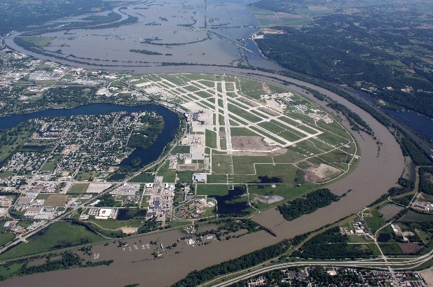 This aerial handout photo provided by the Omaha Airport Authority, taken June 15, 2011, shows flooding around the airport in Omaha, Neb. Extreme weather is a growing threat to the nation's lifelines _ its roads, bridges, railways, airports and transit systems _ leaving states and cities trying to come to terms with a new normal.