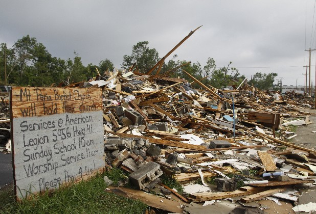 Mount Peria Baptist Church in Ringgold, Ga., lies in ruins after the April 27, 2011 tornadoes. The church's congregation is moving into a new building.