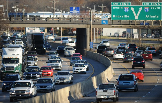 Traffic builds up on Interstate 24 near the I-75 split Sunday afternoon. The Sunday following the Thanksgiving holiday typically causes a traffic jam at the split, leaving cars at a standstill.
