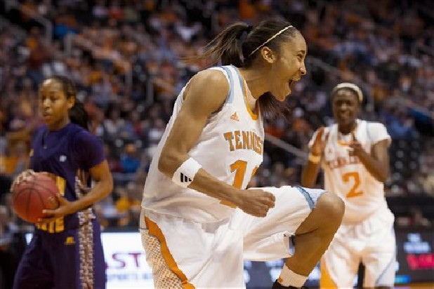 Tennessee's Meighan Simmons celebrates Sunday after scoring against Alcorn State during an NCAA college basketball game in Knoxville.