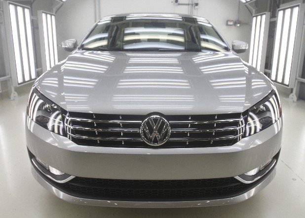A new 2013 Passat sits in a bay at the Chattanooga Volkswagen plant.