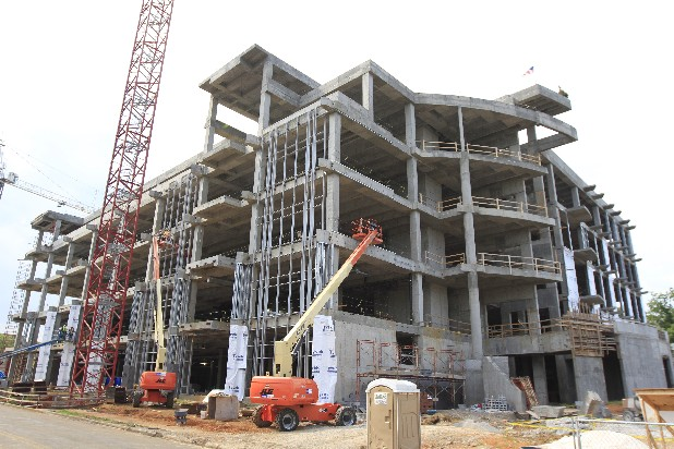 Construction on the new UTC library is seen in this May 2012 file photo.
