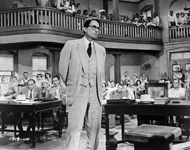 "Gregory Peck is shown as attorney Atticus Finch, a small-town Southern lawyer who defends a black man accused of rape, in a scene from the 1962 movie ""To Kill a Mockingbird."""