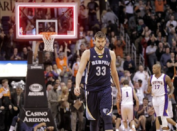 Memphis Grizzlies' Marc Gasol, of Spain, walks off the court as time expires against the Phoenix Suns at an NBA basketball game on Wednesday, Dec. 12, 2012, in Phoenix. The Suns won 82-80