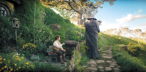 "Martin Freeman is Bilbo Baggins, and Ian McKelen is Gandalf in ""The Hobbit: An Unexpected Journey."""