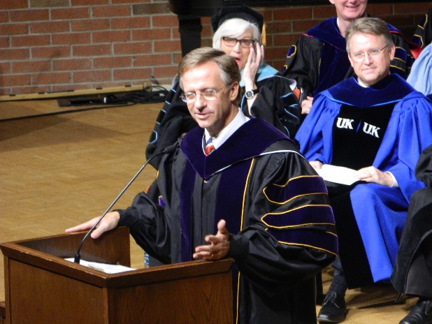 Gov. Bill Haslam addresses the winter 2012 graduating class at Lee University in Cleveland, Tenn., on Saturday. University President Paul Conn conferred an honorary Doctor of Laws degree on Gov. Haslam.