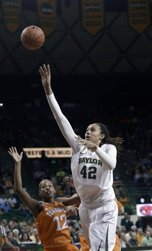 Baylor's Brittney Griner (42) shoots over Tennessee's Bashaara Graves (12) during the first half of an NCAA college basketball game in Waco, Texas.