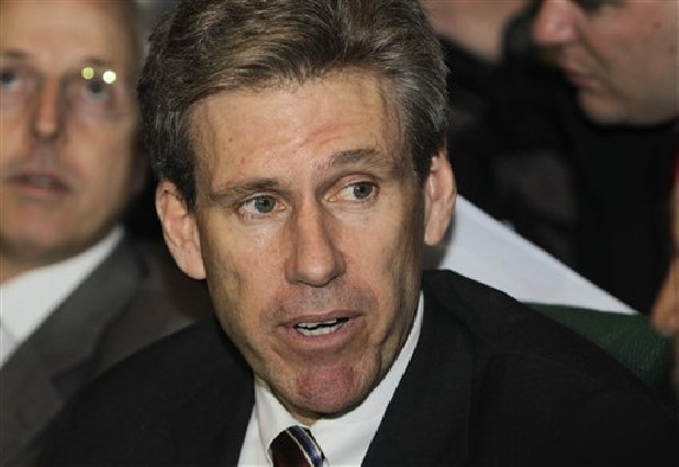 In this file photo, then U.S. envoy Chris Stevens attends meetings at the Tibesty Hotel where an African Union delegation was meeting with opposition leaders in Benghazi, Libya.