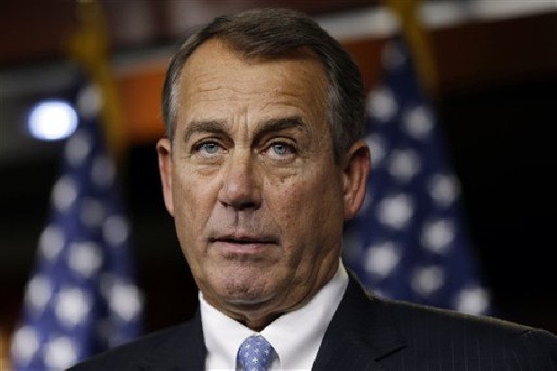 House Speaker Rep. John Boehner, R-Ohio, speaks to the media about the fiscal cliff at the U.S. Capitol in Washington, on Thursday, Dec. 20, 2012.