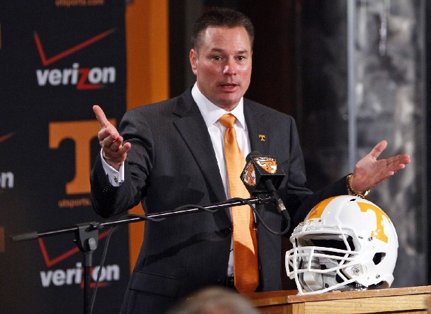 Butch Jones, Tennessee's new head football coach, speaks during an NCAA college football news conference.