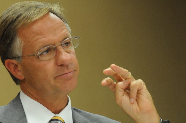 Gov. Bill Haslam listens to educators and business at the University of Tennessee at Chattanooga in this file photo. Haslam says that nearing his second anniversary in office, he's accomplishing the goals he promised when he campaigned.
