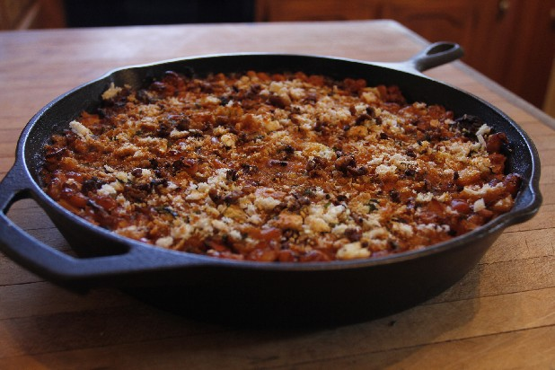 This classic French cassoulet includes beans, duck, tenderloin, bacon, seasonings and bread crumbs.