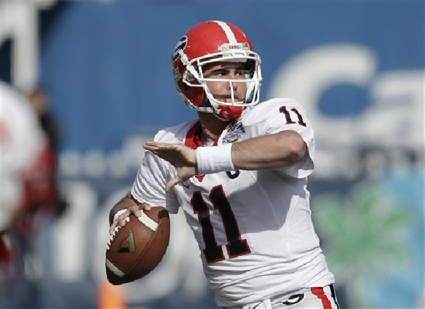 Georgia quarterback Aaron Murray throws a pass against Nebraska during the Capital One Bowl NCAA game in Orlando, Fla.