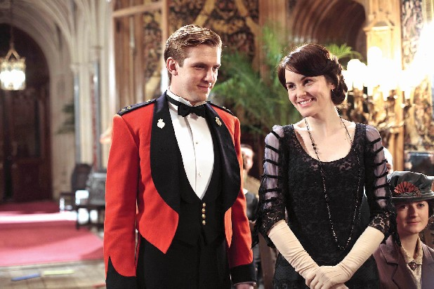 "Matthew Crawley (Dan Stevens) and Lady Mary (Michelle Dockery) take up the cause for England as World War I rages in ""Downton Abbey."""