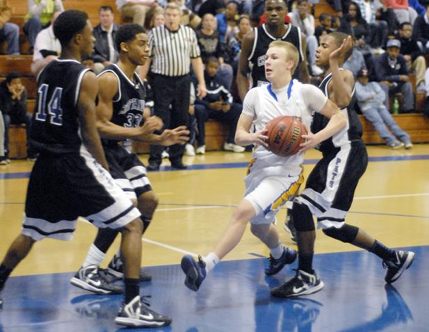 Boyd-Buchanan's Hal Allen drives the lane against CSAS Friday.