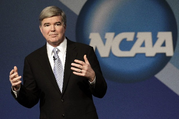 NCAA President Mark Emmert delivers his State of the Association speech during the NCAA's annual convention Jan. 12, 2012 in Indianapolis.