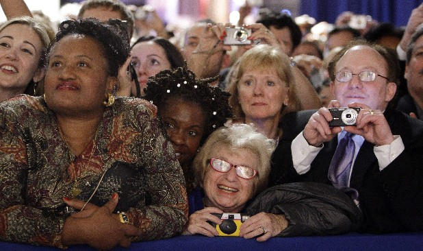 Dr. Ruth Westheimer, center in the front row, watches President Barack Obama and first lady Michelle Obama at the Western Inaugural Ball in Washington in 2009. The sideline events throughout inauguration weekend are the big draws for advocates and lobbyists looking to rub elbows with lawmakers and administration officials. The events at restaurants and hotels, museums and mansions are opportunities for anyone willing to write a check to turn a night out into a chance to build a Rolodex of Washington's powerbrokers.