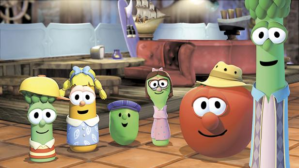 "Phil Vischer's ""VeggieTales"" series tells its biblical stories using a cast of vegetables and fruits who live together on the same kitchen countertop."